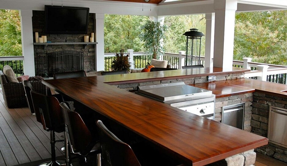 Wood countertops in a covered outdoor space