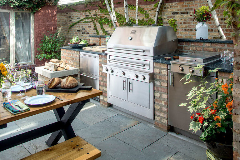 Compact outdoor grilling area in the backyard