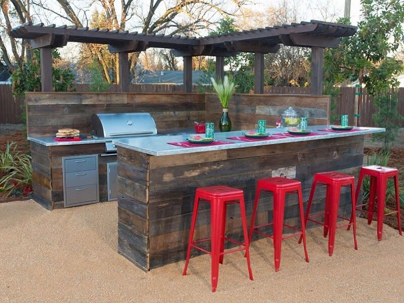 Barstools at an outdoor space