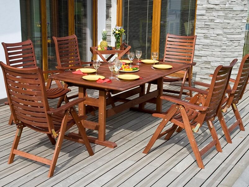 Wood table for the deck or patio