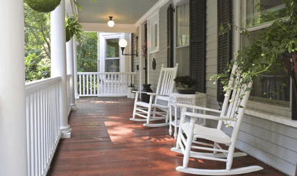 Front porch with two chairs for sitting