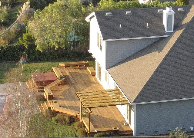 Aeriel view of house and wooden deck
