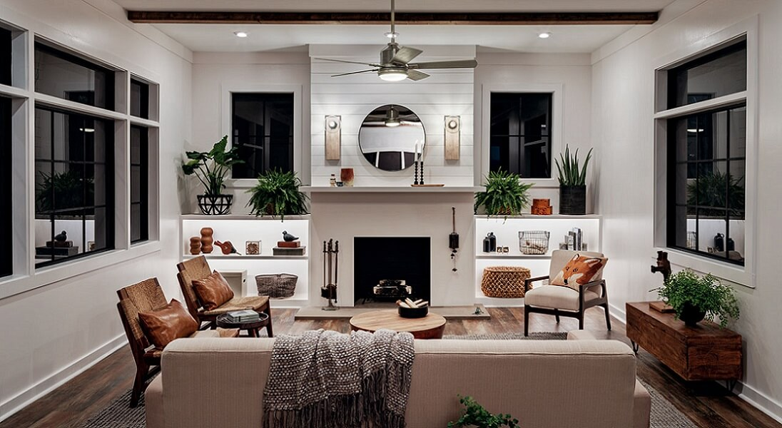 Bright living room with decor and lighting