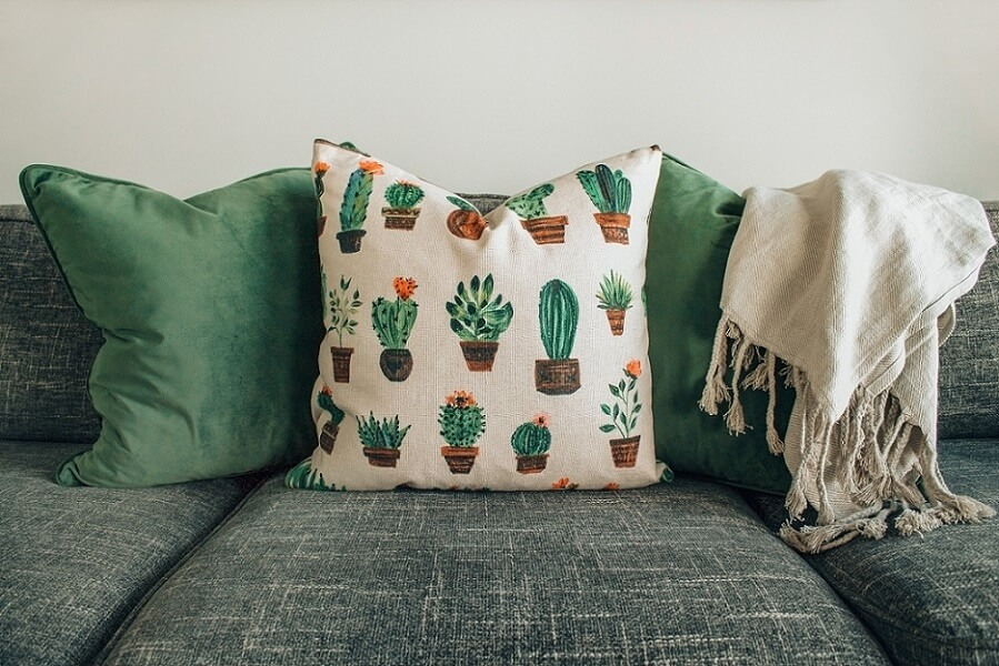 Different pillows on a couch