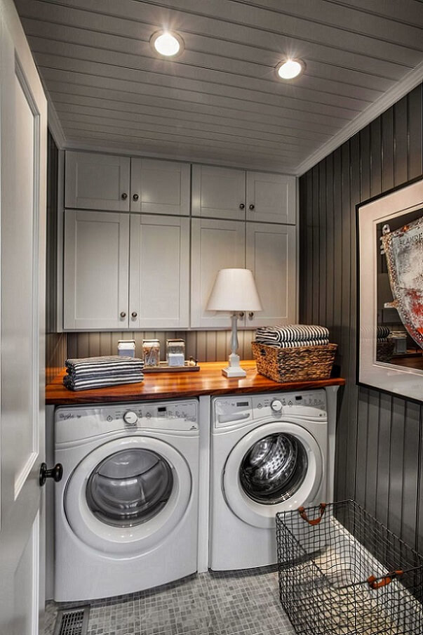 Washer and dryer in cozy basement laundry room