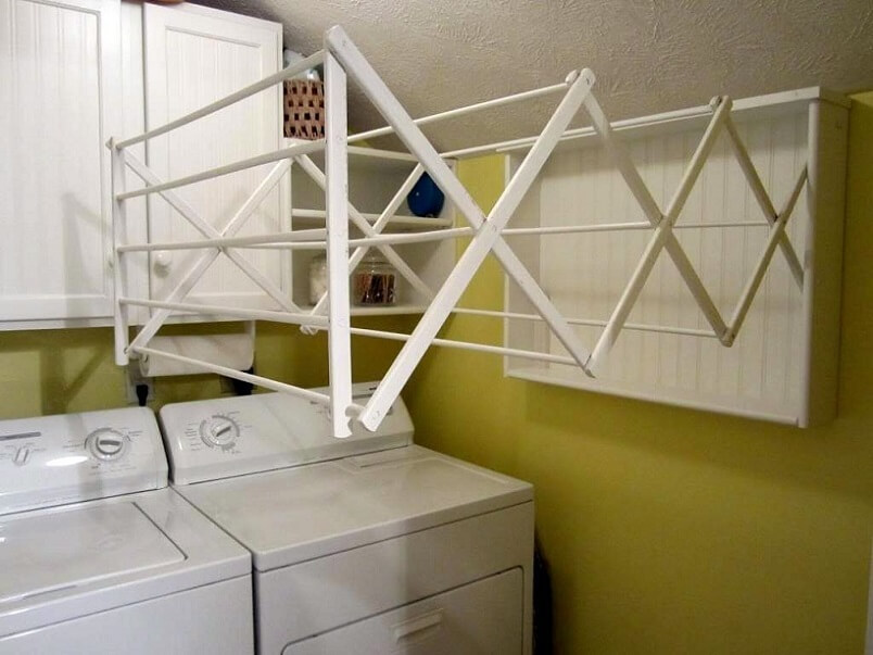 Clothes hanger installed in laundry room