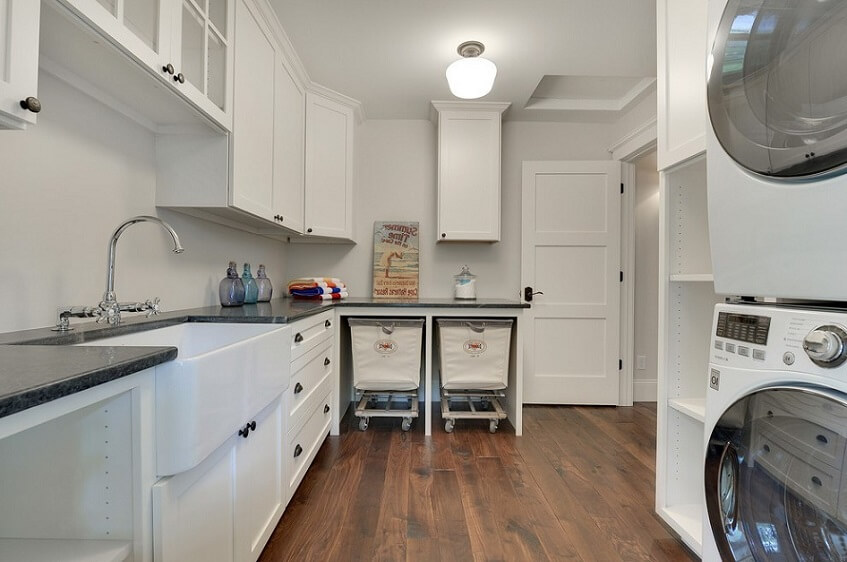 White and large laundry room