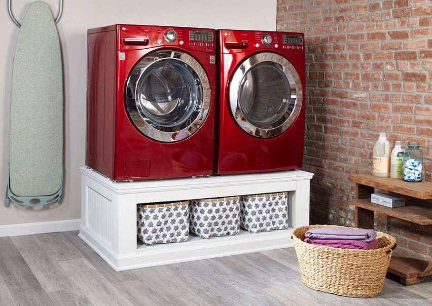 Red washer and dryer