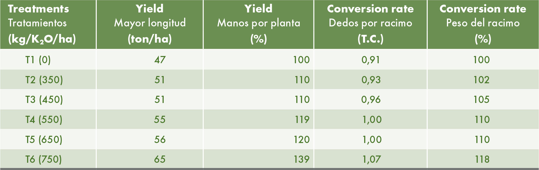 Yield per hectare and conversion rates to boxes. The percentage increase is calculated relative to the control without addition of potassium (T1).