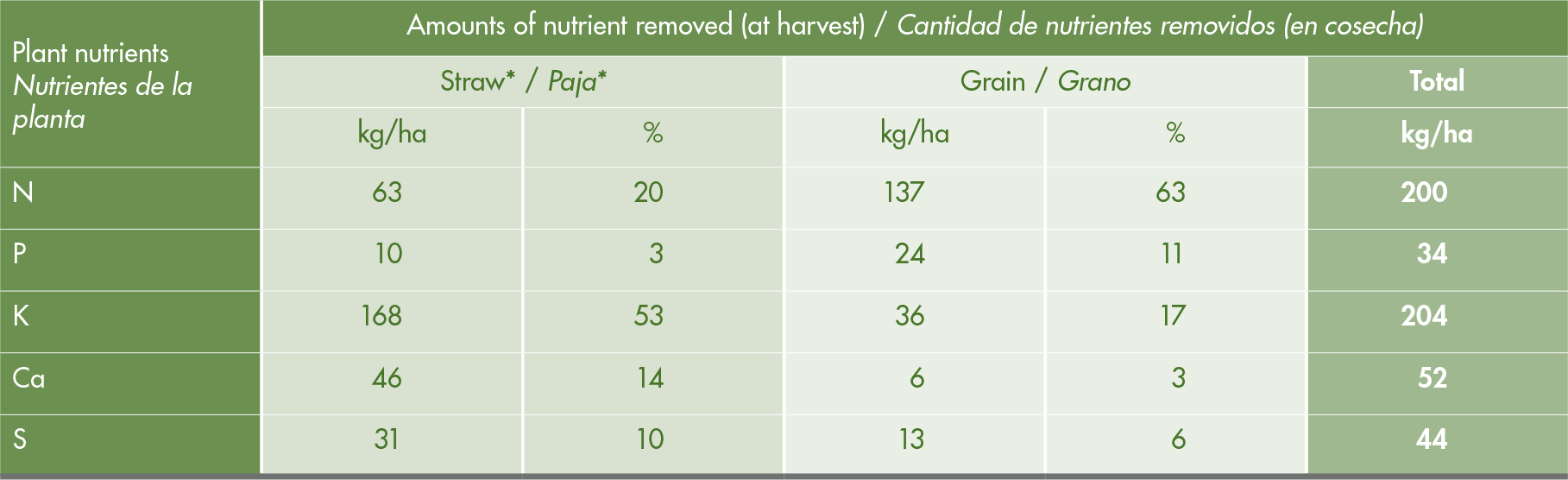Nutrients removal by a high yielding rice variety ('IR64'), 12 MT/ha rough rice grains and 8,3 MT/ha of straw, by 2 - 3 crops per year.