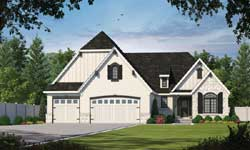 English-Country Style Home Design Plan: 10-1614