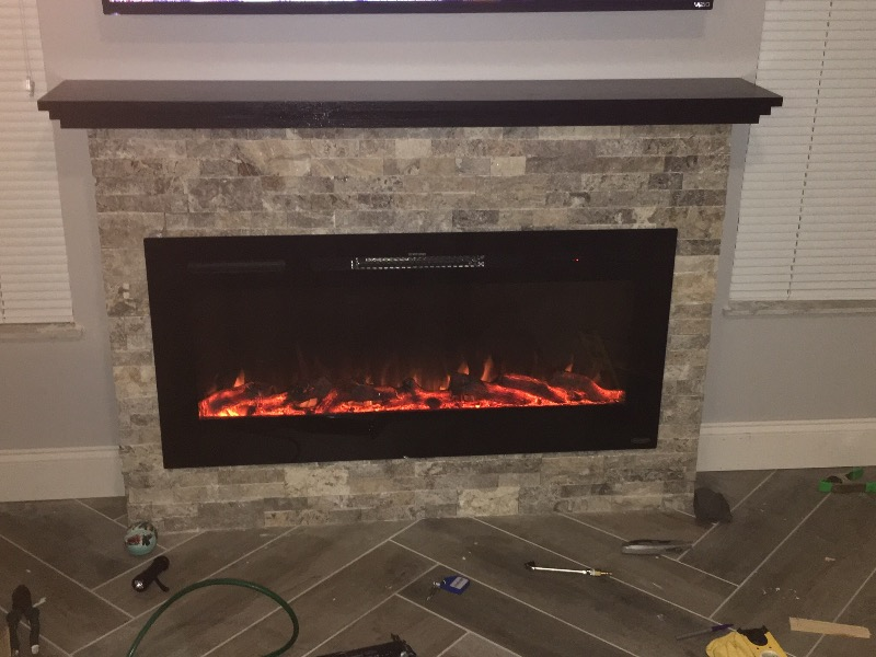 Sideline45 80025 45 inch Wall Recessed Electric Fireplace With ...