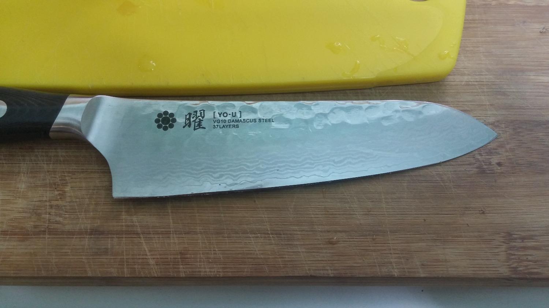 YAXELL YO-U 37-Layer Damascus Hammer Marked Santoku Knife 145mm ...
