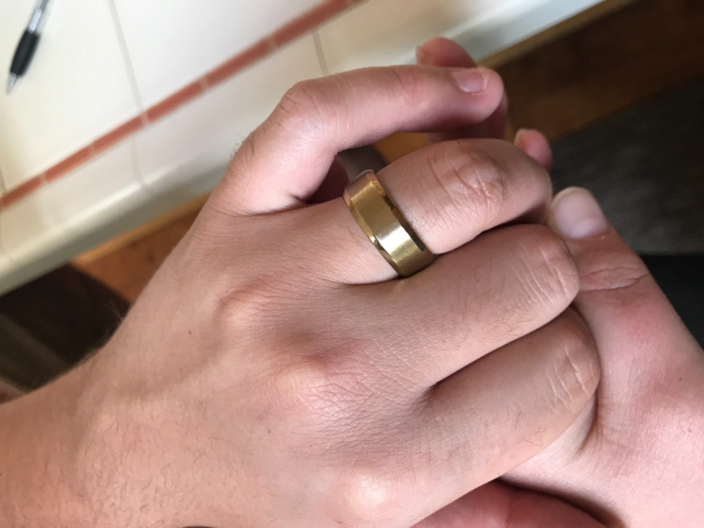 Brushed Gold Wedding Band | Gold Titanium Ring - Modern Gents ...