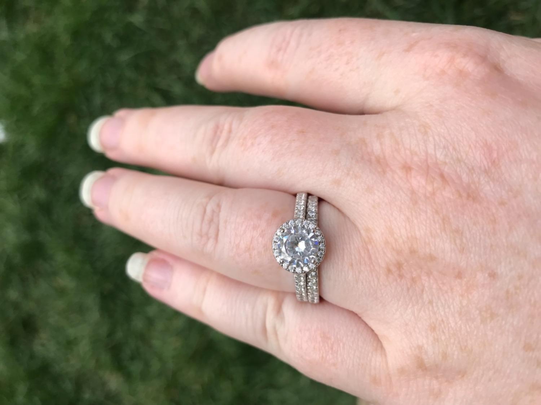 Round Halo Engagement Ring Set | Half Eternity Wedding Band - Modern ...