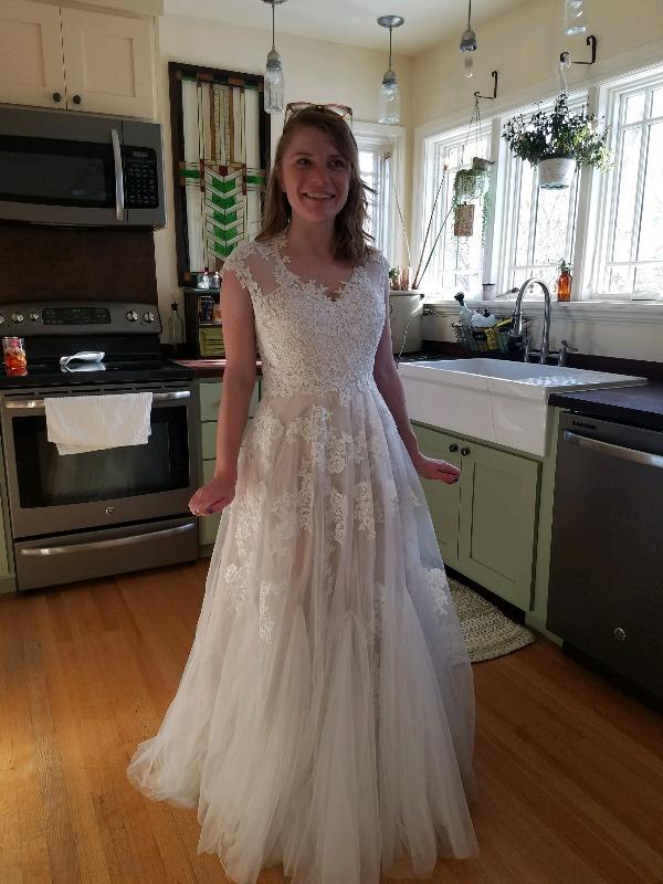 Blush Whimsical Beach Lace Wedding Dress | Korynne | ieie Bridal
