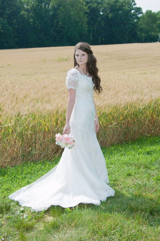 552001ce6bbe Bohemian LDS Lace Wedding Dress with Sleeves   Kate – ieie