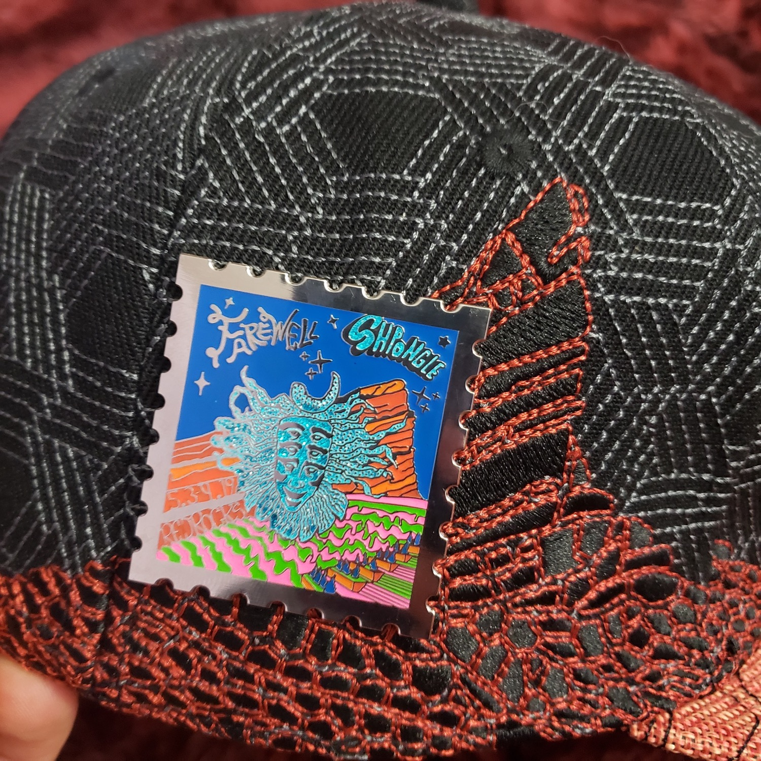 c8a2d211 Shpongle was dope af....oh you mean the hat. The hats colors are perfect,  the red rock stitching over the black geo patterns make it a fun hat!