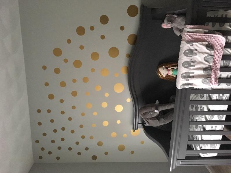 Metallic Wall Decals metallic gold polka dot wall decals | peel and stick – polka dot