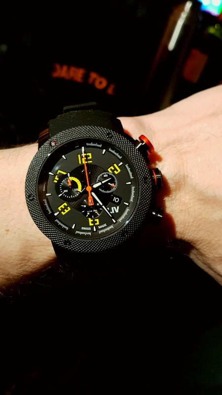 GX1 Swiss Chrono Black IP Case | Black Dial & Yellow Numbers 1210.45.13