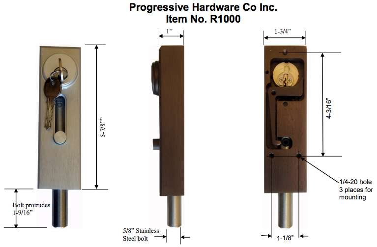 r1000 revolving door u0026 sliding door drop bolt lock by progressive hardware