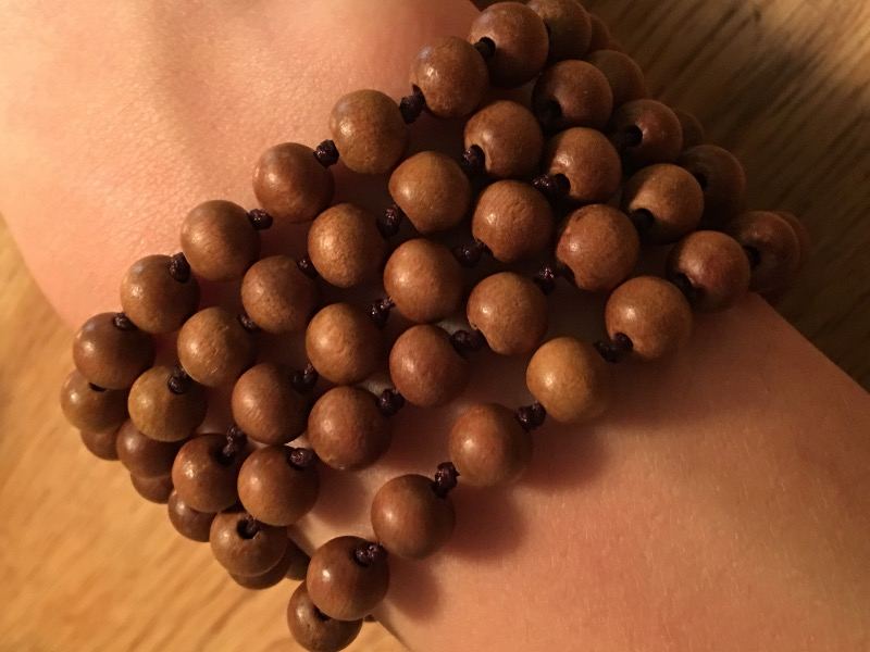 Hand Knotted Sandalwood Mala Brown Cord