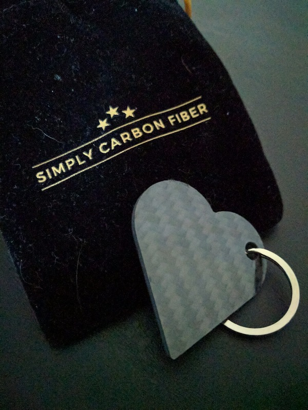 Real Carbon Fiber Heart Shaped Keychain