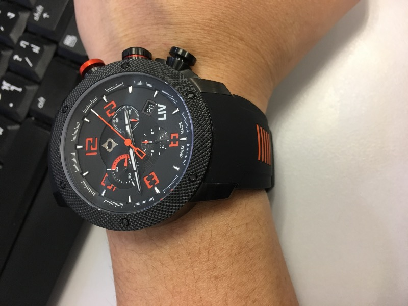 GX1 Swiss Chrono Black IP Case | Black Dial & Orange Numbers 1210.45.10