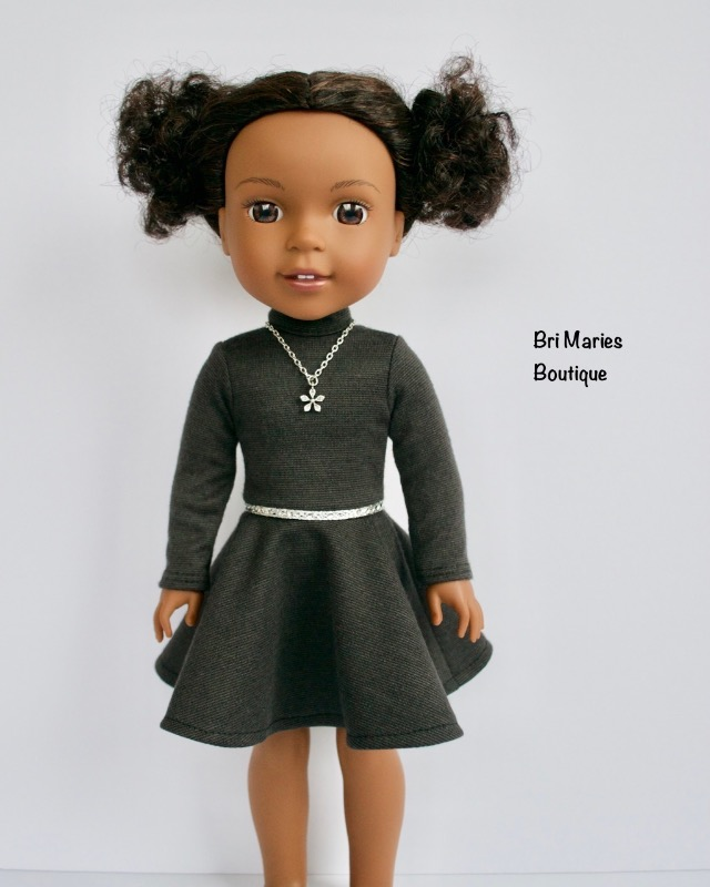 Fit & Flare Mock Neck Dress for WellieWishers Dolls