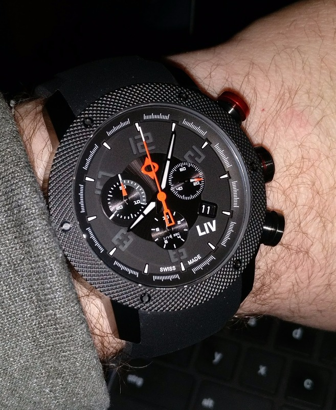 GX1 Swiss Chrono Black IP Case | Black Dial & Gray Numbers | Silicone Strap on Tang