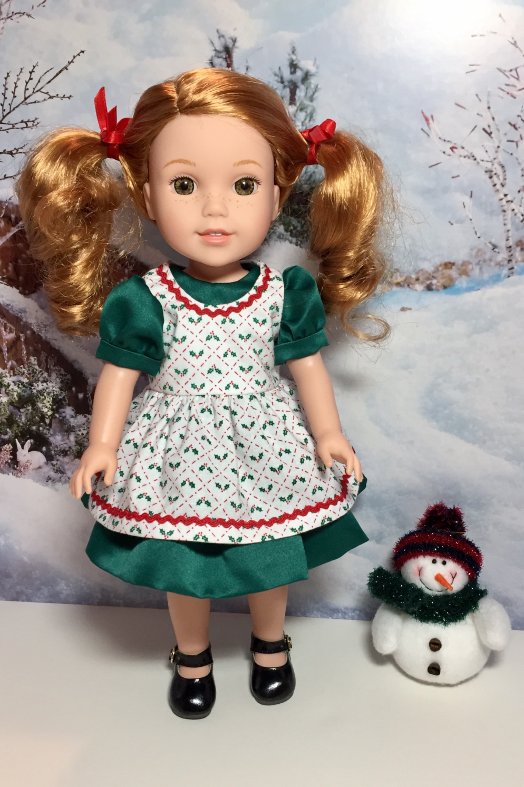 Sugar n Spice & Everything Nice Dress & Pinafore with Dress Up Accessories for WellieWishers Dolls