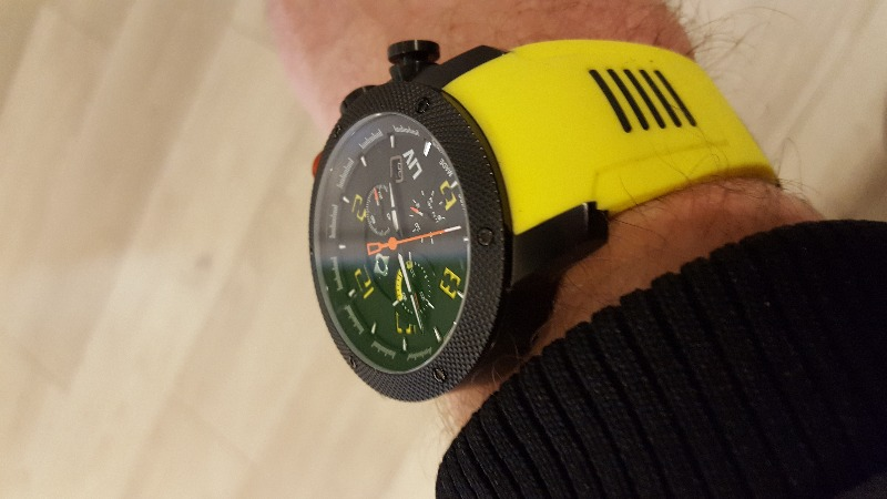 GX1 Swiss Chrono Black IP Case | Black Dial & Yellow Numbers | Silicone Strap on Tang