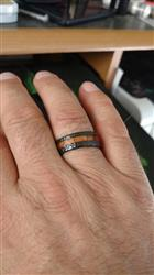 Black Titanium Hammered Ring with Offset Koa Wood Inlay - 8mm, Flat Shape, Comfort Fitment