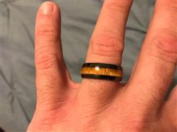 April H. verified customer review of HI-TECH Black Ceramic Ring with Hawaiian Koa Wood Inlay - 8mm, Dome Shape, Comfort Fitment