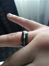 Jonathon M. verified customer review of Black Hi-Tech Ceramic Ring with Abalone Pau'a Shell and Hawaiian Koa Wood Tri-Inlay - 8mm, Dome Shape, Comfort Fitment
