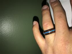 Samuel Y. verified customer review of HI-TECH Black Ceramic Ring with Blue Opal & Hawaiian Koa Wood Tri Inlay - 8mm, Dome Shape, Comfort Fitment