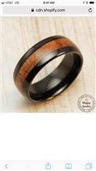 Charlene B. verified customer review of Black Tungsten Carbide Ring with Koa Wood Inlay - 8mm, Dome Shape, Comfort Fitment