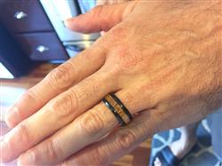 Stephanie G. verified customer review of Black Tungsten Carbide Beveled Edge Ring with Koa Wood Inlay, 8-10mm, Flat Shape, Comfort Fitment