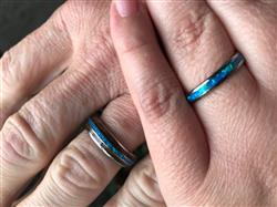 Heather D. verified customer review of Petite Tungsten Carbide Blue Opal Ring - 3mm, Dome Shape, Comfort Fitment