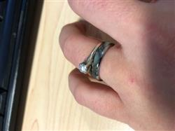 Megan C. verified customer review of Thin Tungsten Carbide Ring with Abalone Shell Inlay - 4mm, Dome Shape, Comfort Fitment
