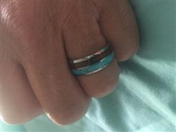 Sally M. verified customer review of Tungsten Carbide 8mm Ring with Turquoise and Hawaiian Koa Wood Inlay, Comfort Fitment, Barrel Style