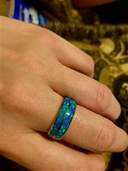 Raymond L. verified customer review of Tungsten Carbide Ring with Blue Opal Duo Inlay - 8mm, Dome Shape, Comfort Fitment