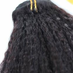Kinky Straight Grade 6A Real Human Hair Natural Color Clip In Hair Extensions 100g/Set