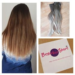 20 Inch Clip In Human Hair Extensions 4/18# Ombre Balayage Color Straight Brazilian Virgin Hair