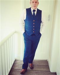 Phil S. verified customer review of Blue Overcheck Twill Tweed Waistcoat