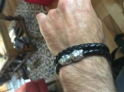 Joseph C. verified customer review of GENUINE LEATHER SILVER TWIN SKULL BRACELET