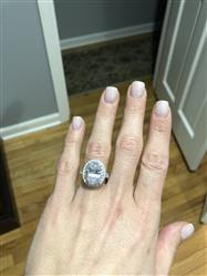 Liz verified customer review of 6 ctw Oval Halo Filigree Ring - Final Sale