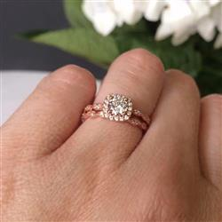 3/4 ctw Art Deco Halo Wedding Set - Rose Gold