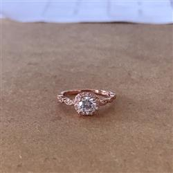 3/4 Art Deco Halo Ring - Rose Gold