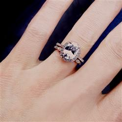 2.25 ctw Art Deco Oval Halo Wedding Set